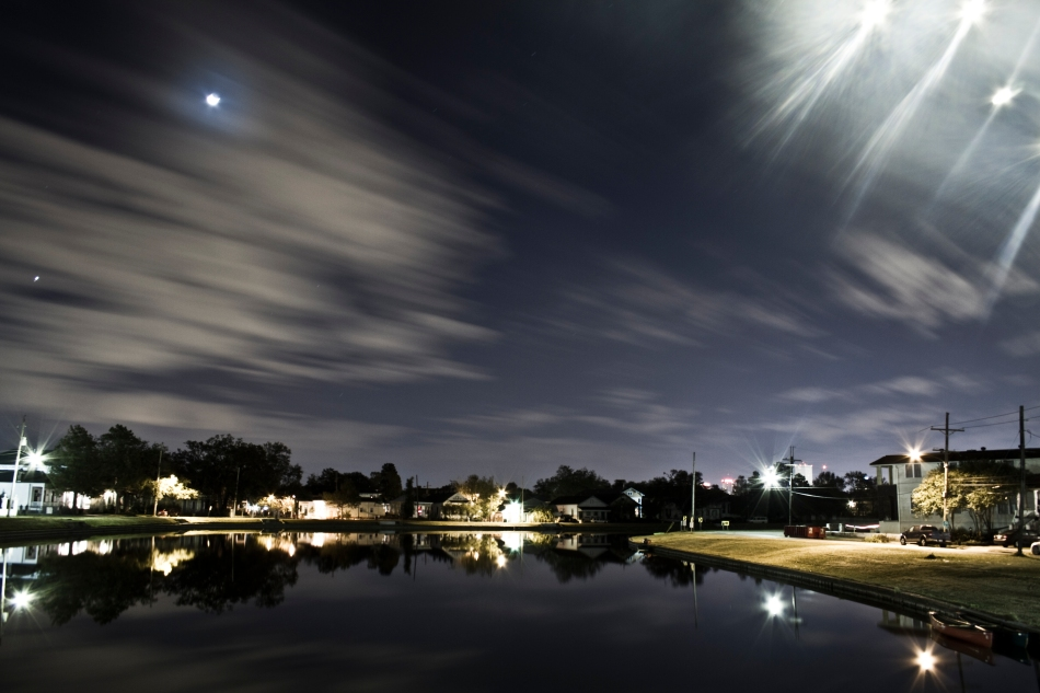 Crescent Moon over Bayou St. John in New Orleans, Louisiana