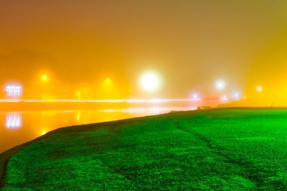 Bayou St. John in New Orleans, Louisiana on a foggy night in December 2012