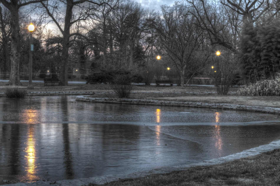A high dynamic range image of a frozen pond in Tower Grove Park, St. Louis, MO