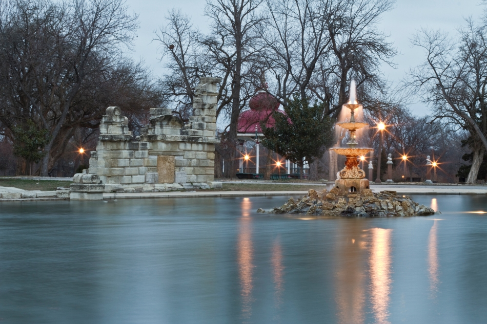 Tower Grove Park fountain, ruins, music stand, statues, and geese silhouettes, St. Louis, MO