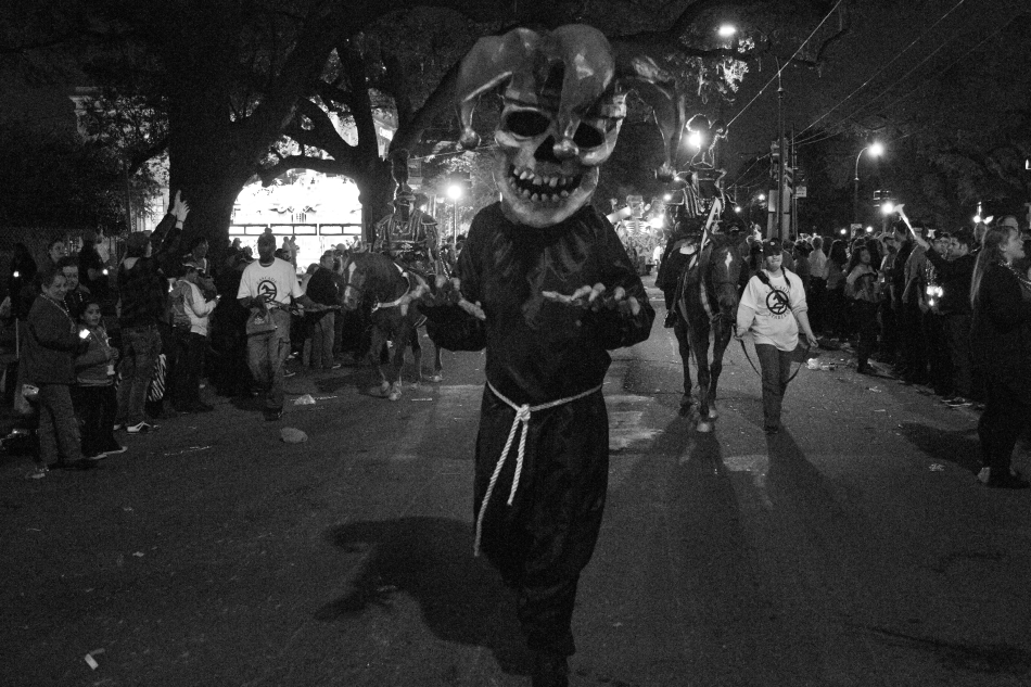 A large skeleton leads the Krewe D'Etat Mardi Gras parade in New Orleans, LA on February 8, 2013
