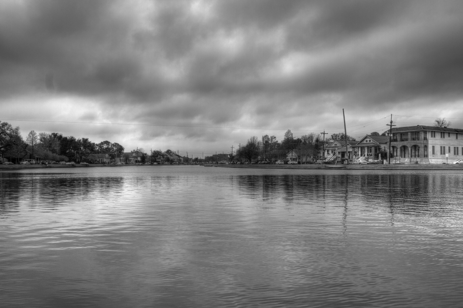 Bayou St. John on the morning of the Endymion Mardi Gras Parade in New Orleans, LA