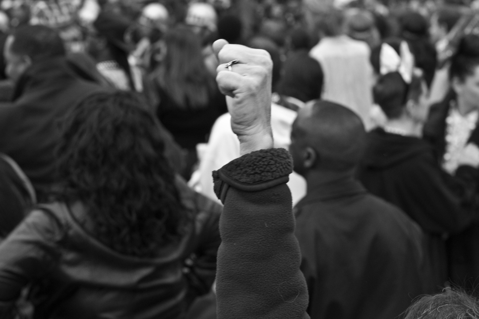 A parade-goer's fist at the Endymion Mardi Gras parade in New Orleans, LA on February 9, 2013
