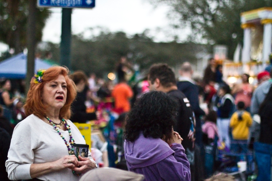 Parade-goers at the Endymion Mardi Gras Parade in New Orleans, LA on February 9, 2013