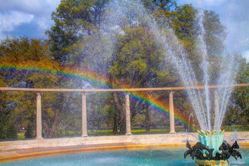 A rainbow in the Popp Fountain in City Park, New Orleans, LA