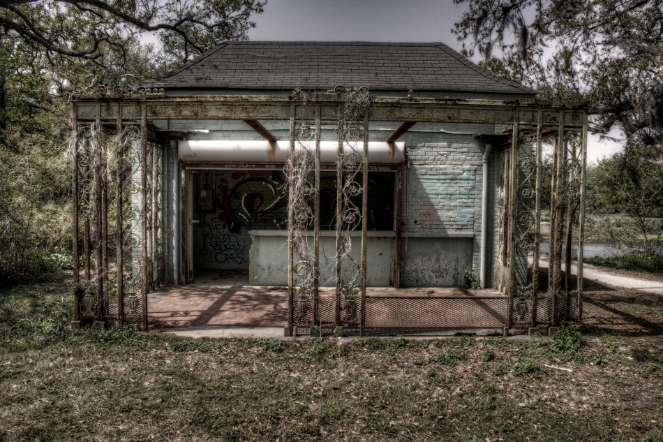 An abandoned structure in City Park, New Orleans, LA