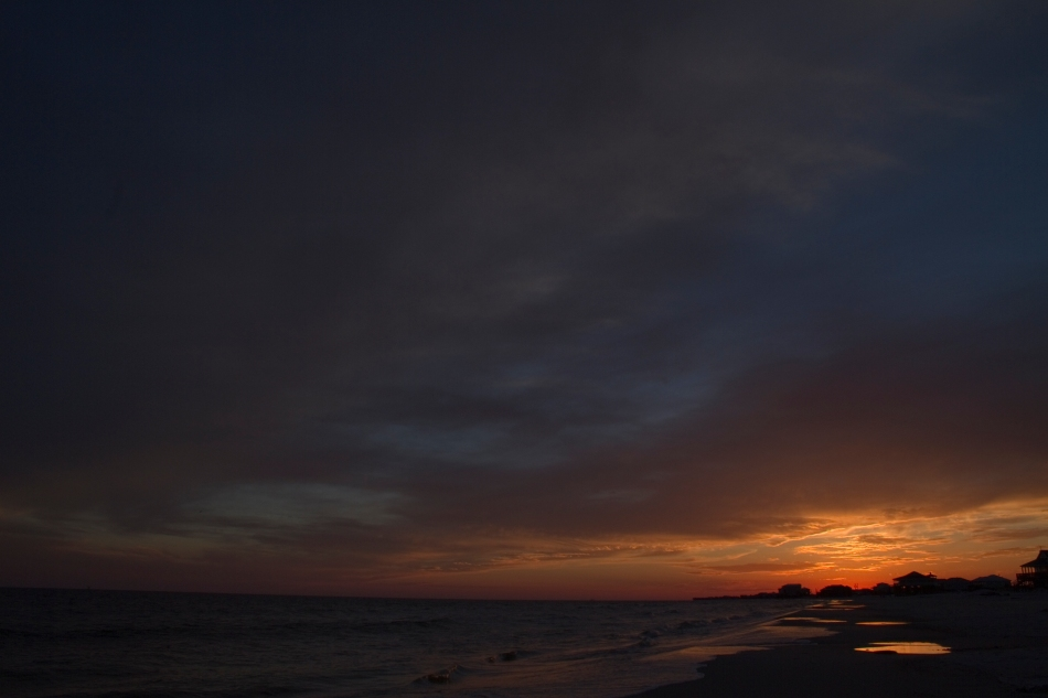 A sunset over Dauphin Island, AL.