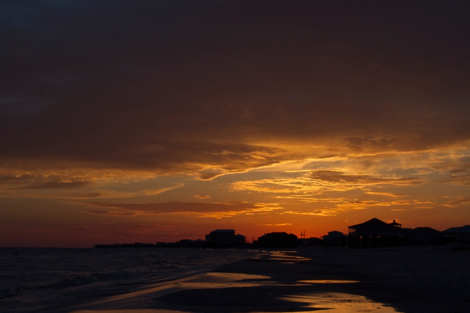 A Sunset on the beach of Dauphin Island