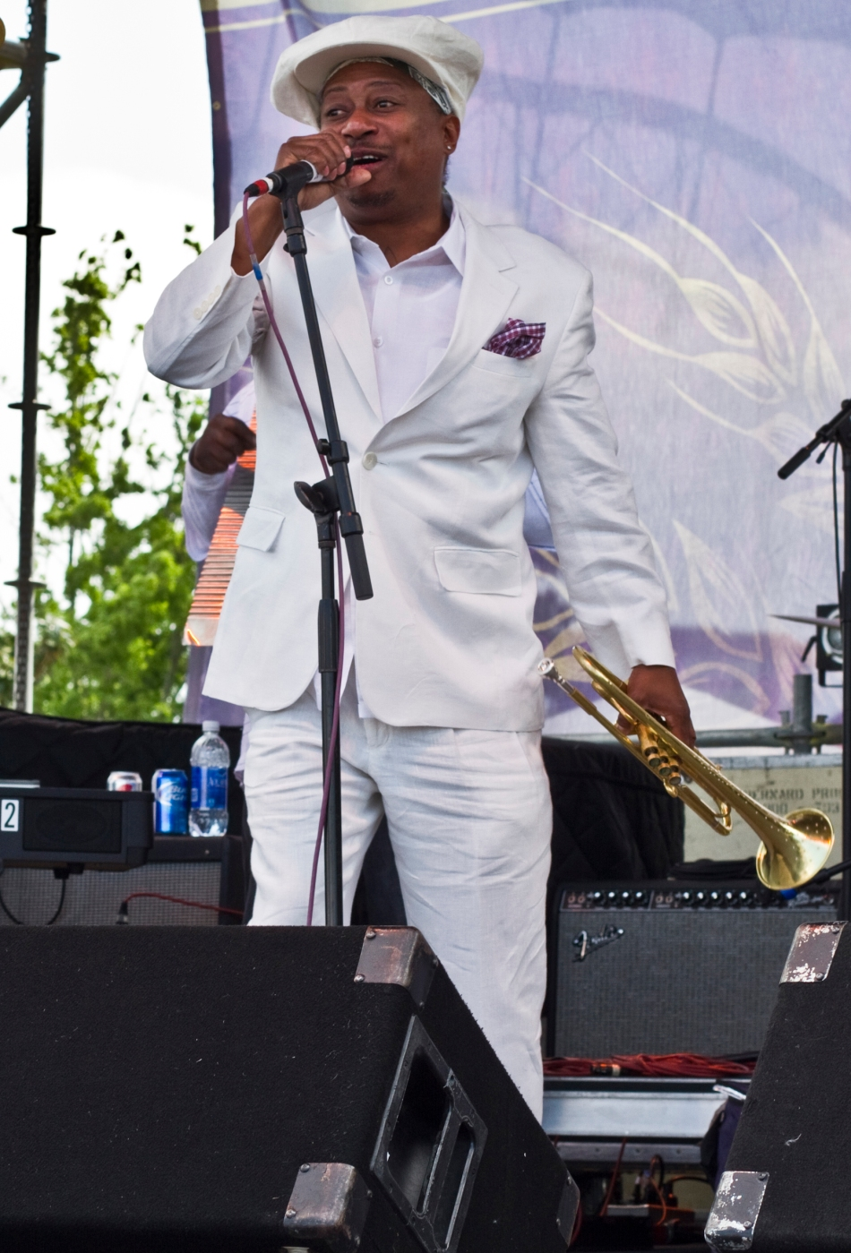 Kermit Ruffins performing at French Quarter Fest in New Orleans, LA on April 13, 2013