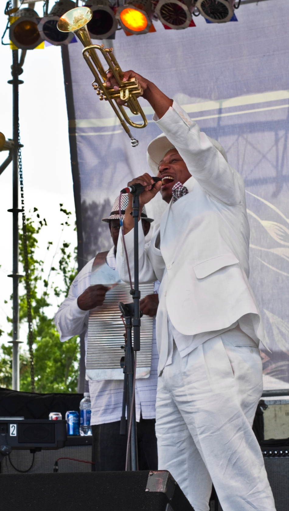 Kermit Ruffins performing at French Quarter Fest in New Orleans, LA April 13, 2013