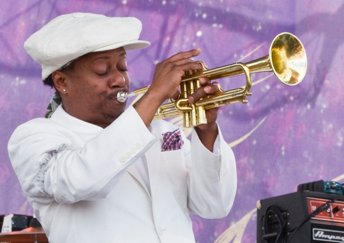 Kermit Ruffins performing at French Quarter Fest in New Orleans, LA - April 13, 2013