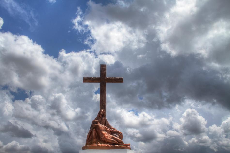A replica of Michaelangelo's Pieta made of bronze located in St. Patrick cemetery No. 3 in New Orleans, LA