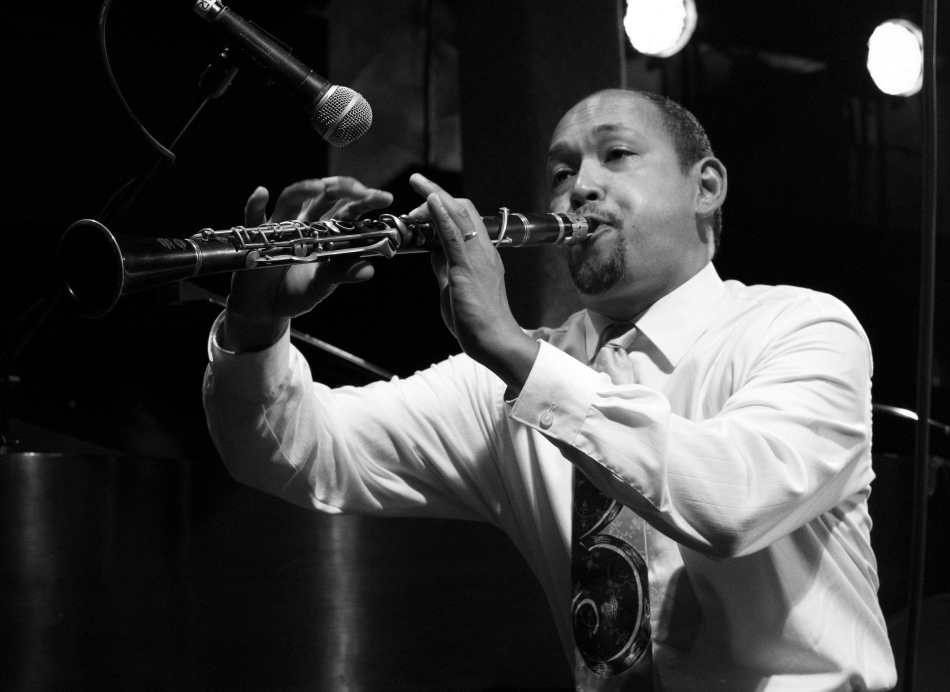 Clarinetist Evan Christopher performing with Kermit Ruffins at Tipitina's Uptown in New Orleans, LA on June 8, 2013