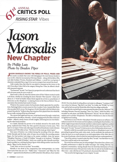 Jason Marsalis - Downbeat Rising Star on Vibes - August 2013