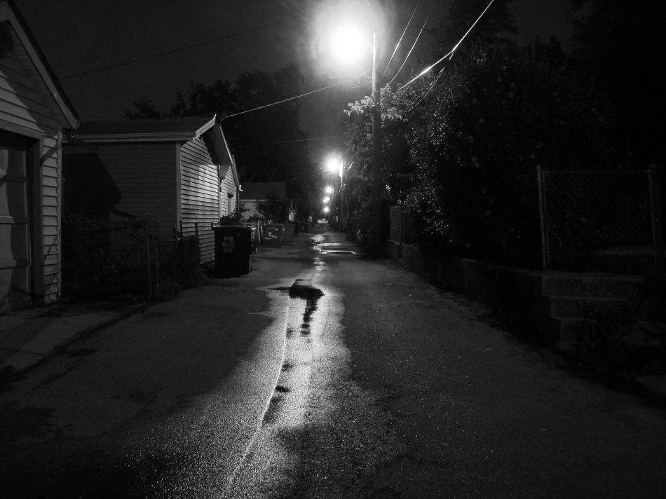 A night shot of an alley in South St. Louis, MO.