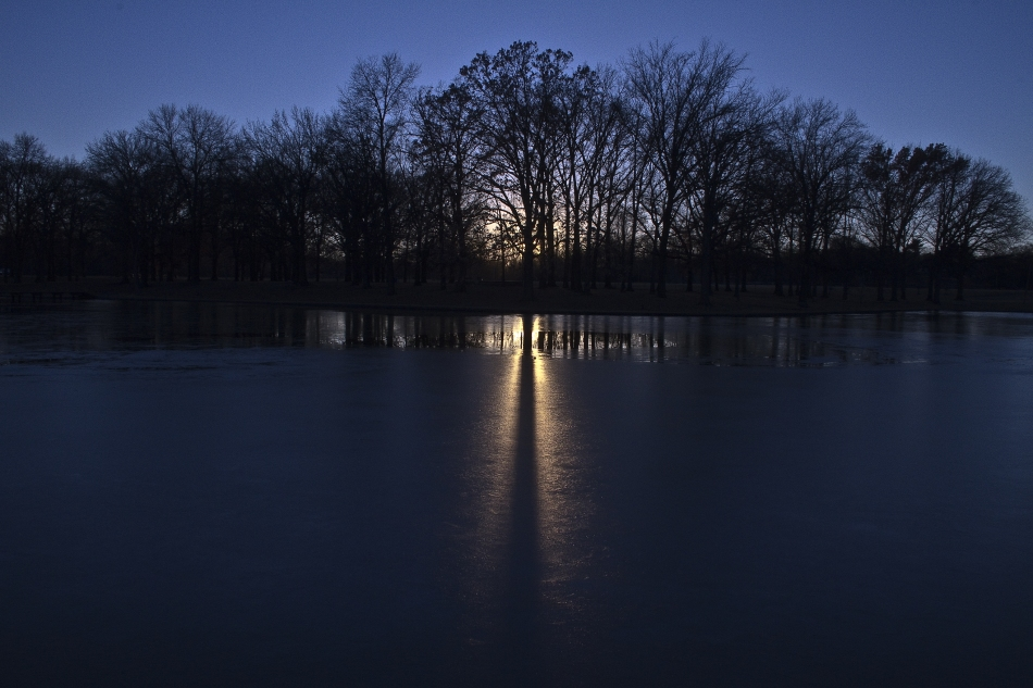 The sun sets behind a tree casting a shadow on a frozen pond in Willmore Park in St. Louis, MO.