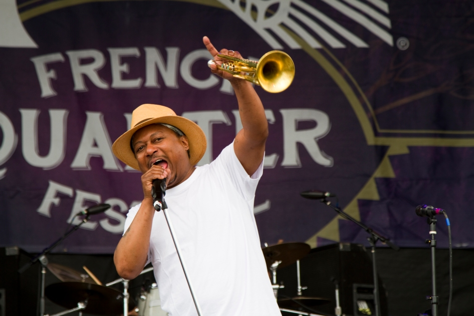 Kermit Ruffins performing at French Quarter Fest 2015. Photo by Braden Piper bgpiperphotography.com