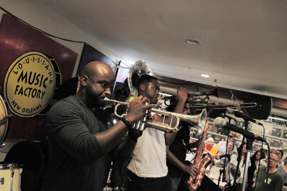 "A photo of trumpeter Travis ""Trumpet Black"" Hill performing with Rebirth Brass Band at Louisiana Music Factory in New Orleans, LA just a few days before his untimely death in Japan in May 2015. Photo by Braden Piper bgpiperphotography.com"