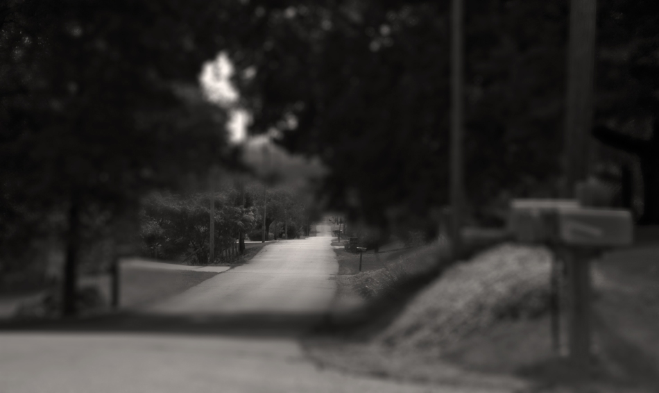 A black and white sepia toned image of a long paved asphalt road rolling over some hills in Bloomsdale, Missouri shot in the tilt shift photography style