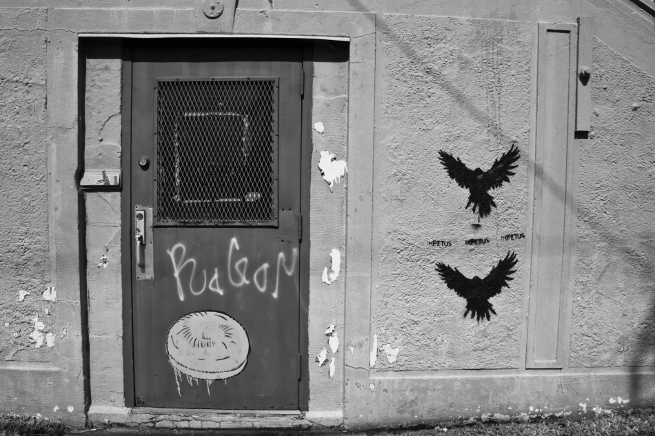 A black and white image of a metal door with graffitti in the 7th Ward of New Orleans, Louisiana