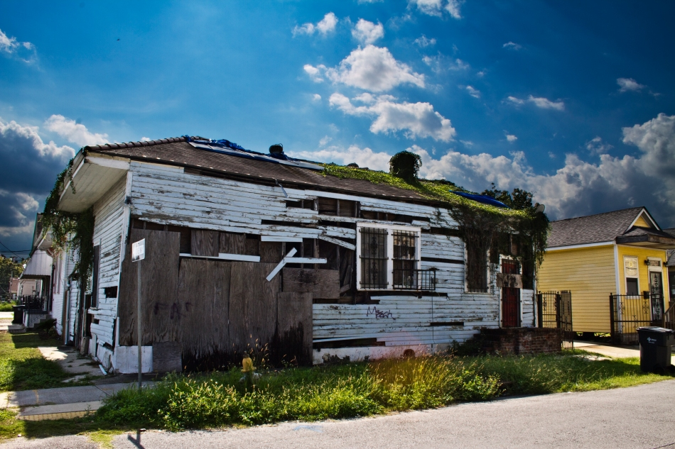 A high dynamic range image of a dilapidated and abandoned house in the 7th ward of New Orleans, Louisiana