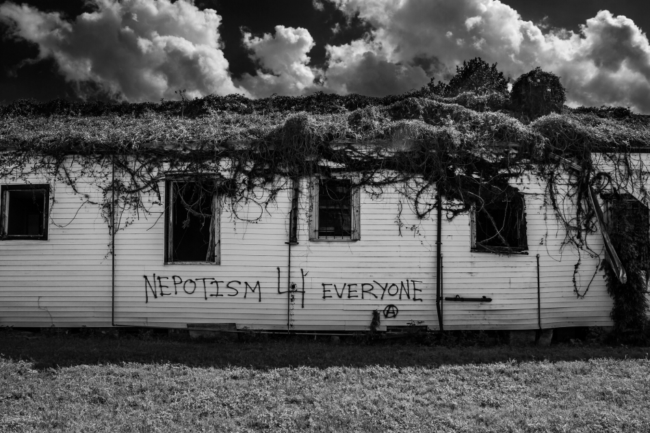 "A black and white image of a an abandoned building overgrown with vegetation that has a graffiti tag that reads ""Nepotism 4 Everyone"" in the 7th Ward of New Orleans, Louisiana."